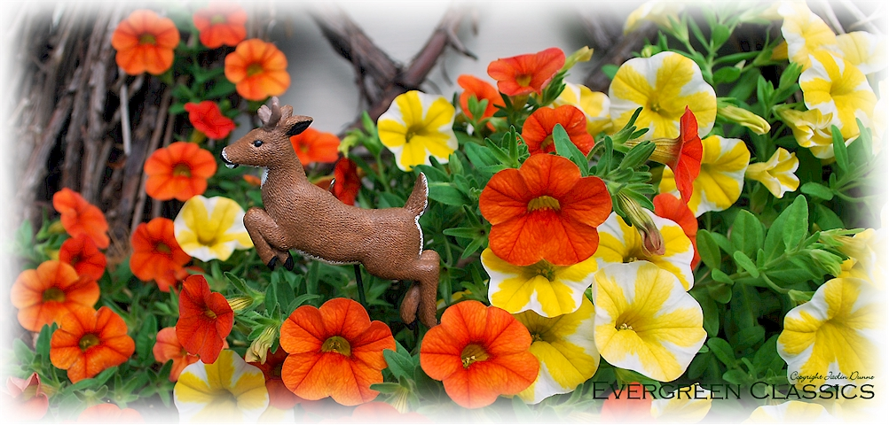 Whitetail buck jumping floral pick.