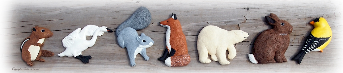 Chipmunk, Trumpeter, Squirrel, Red Fox, Polar Bear, Cottontail, Goldfinch Ornaments