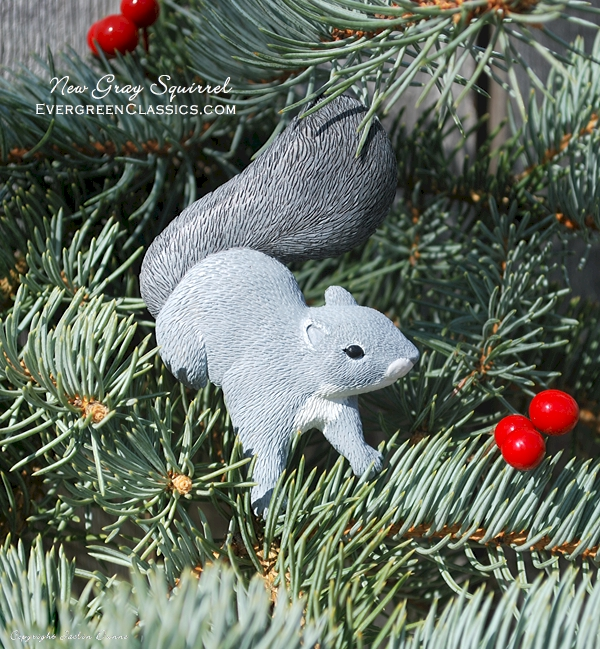 Evergreen Classics | New Gray Squirrel Christmas Ornament and Magnet